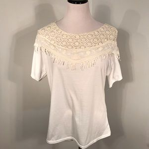 Cotton and Lace Short Sleeve Top Sz L